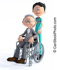 3d, dessin animé, wheelchair., docteur, vieux, rendre, homme