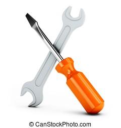 3d, destornillador, y, llave inglesa, herramientas