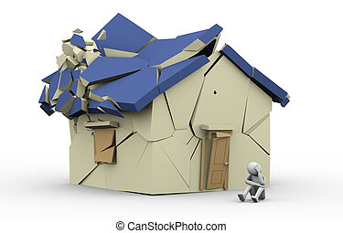 3d destroyed home and sad man