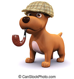 3d Detective dog - 3d render of a dog smokes a pipe and...