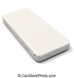 3d, dettagliato, bianco, materasso