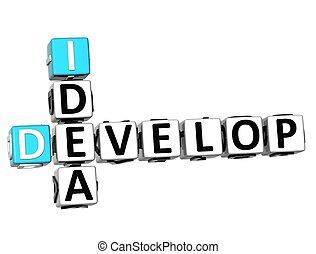3D Develop Idea Crossword cube words