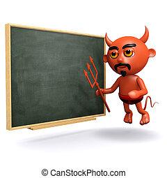3d Devil at the blackboard