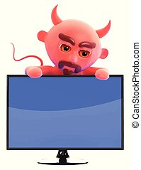 3d Devil looks over a lcd widescreen tv monitor - 3d render...
