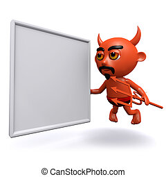3d Devil with a blank banner