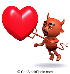 3d Devil with a red heart