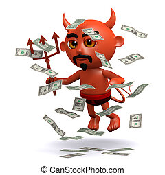 3d Devil with a windfall of US Dollars - 3d render of a...
