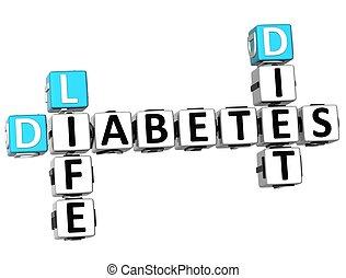 3D Diabetes Life Diet Crossword on white background