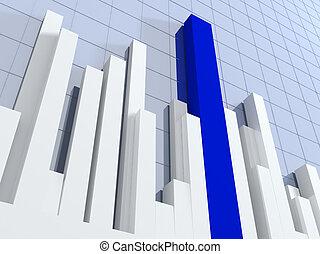 3d diagram, showing positive results - Blue 3d diagram,...