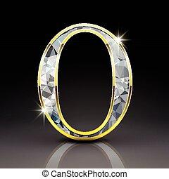 3d, diamant, brief, o, prachtig