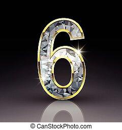 3d, diamant, glänzend, zählen 6
