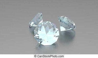 3d, diamantes, -, animação