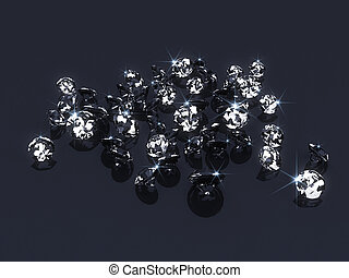 3d diamond - 3d rendered illustration of many expensive ...