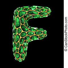 3D Diamond letter F on black isolated