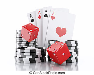 3d dice, cards and chips. Casino concept. Isolated white ...