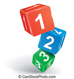 3d dice illustration with numbers one two three