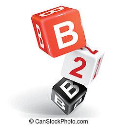 3d dice illustration with word B2B