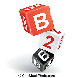 3d dice illustration with word B2B
