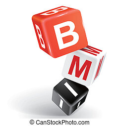 3d dice illustration with word BMI