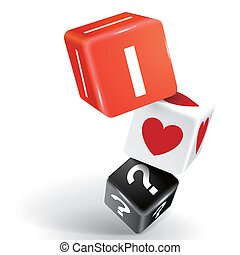 3d dice illustration with word I dont know what I love -...