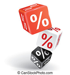 3d dice illustration with word percent sign