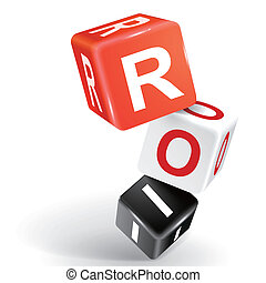 3d dice illustration with word ROI - vector 3d dice with...