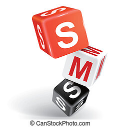 3d dice illustration with word SMS