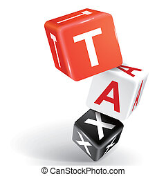 3d dice illustration with word TAX