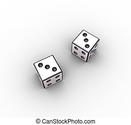 3D dice on a white background