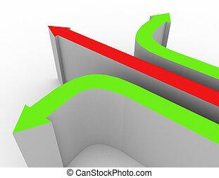 3d different direction concept 3d rendered illustration