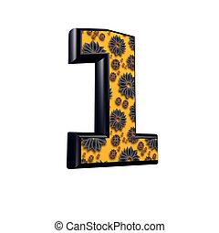 3d digit with floral design - 1