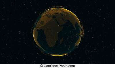 3D Digital Earth shows concept of global network.