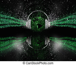 3D digital global music concept with glitter effect