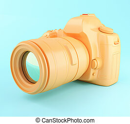 3D Digital orange photo camera.