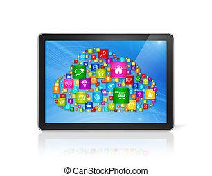 Digital Tablet pc and cloud computing symbol