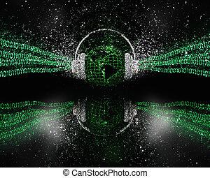 3d, digitale, globale, musica, concetto, con, brillare, effetto