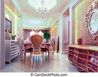 3d Dining room rendering