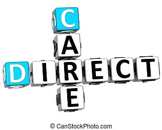 3D Direct Care Crossword text on white background