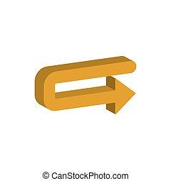 3d, direction, style, icône, droite flèche