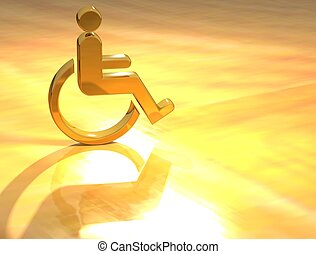 3D Disabled Gold Sign