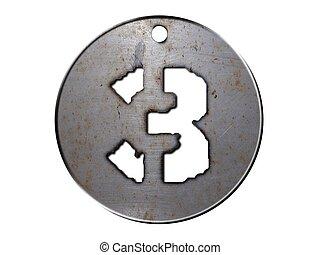 3d, disco, metallo, numero tre