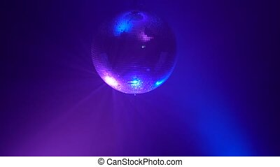 3D Disco mirror ball reflecting colorful lights in smoke