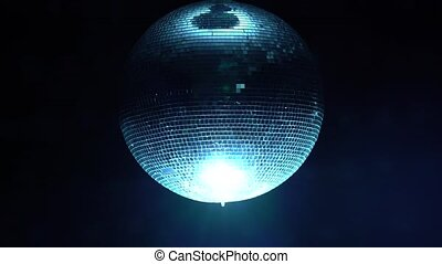 3D Disco mirror ball reflecting colorful lights in smoke on black background