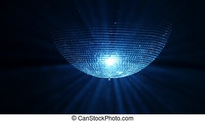 3D Disco mirror ball reflecting lights in smoke on black background