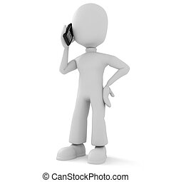 3d, discurso homem, telefone
