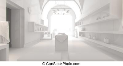 3d, diseño de interiores, blanco, tienda