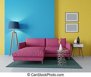 3d, diseño, de, un, vida moderna, room., esquina, borgoña, sofá