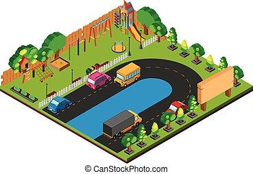 3d, diseño, para, parque, con, patio de recreo