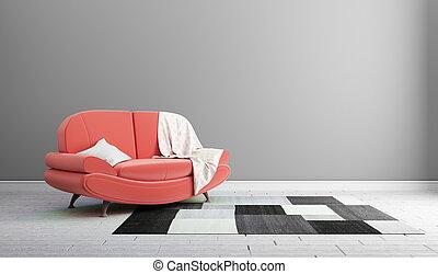 .3d, disegno, concetto, divano, parete rossa, interpretazione, interno, moderno, grigio