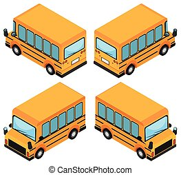 3d, disegno, per, bus scuola